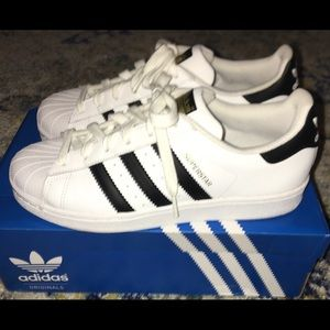 Adidas Superstar White Sneakers Women's Size 8